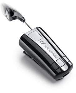 Cellularline Roller Clip Headset - Universale Auricolare con cavo riavvolgibile e clip Bluetooth senza fili Nero