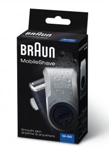 Braun MobileShave PocketGo M90 Blu, Argento rasoio elettrico