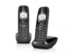 Gigaset AS405 Duo Telefono DECT Nero Identificatore di chiamata