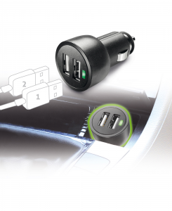 Cellularline USB Car Charger Dual Ultra - Fast Charge Universale Caricabatterie veloce a 15W per due dispositivi Nero