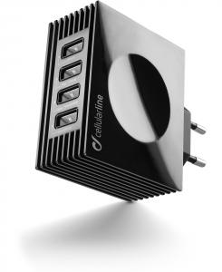 Cellularline USB Charger Quad Ultra - Fast Charge Universale Caricabatterie da rete veloce per quattro porte USB Nero