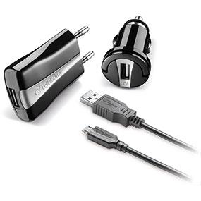 Cellularline CHKIT3IN1MUSBK Caricabatterie per dispositivi mobili Auto, Interno Nero