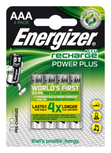 Energizer Accu Recharge Power Plus 700 AAA BP4 Nichel-Metallo Idruro 700mAh 1.2V batteria ricaricabile