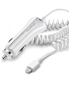 Cellularline Car Charger Ultra - Fast Charge Lightning Caricabatterie veloce a 10W con cavo allungabile Bianco