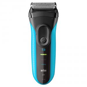Braun Series 3 3010 Wet & Dry Rasoio Trimmer Nero, Blu rasoio elettrico