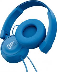 JBL T450 Padiglione auricolare Stereofonico Cablato Blu auricolare per telefono cellulare