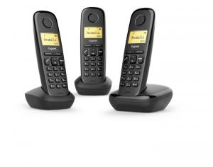 Gigaset A170 Trio Analog/DECT telephone Identificatore di chiamata Nero