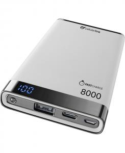 Cellularline FreePower Manta S 8000 - Universale Caricabatterie portatile ultrasottile con porta USB e porta USB-C