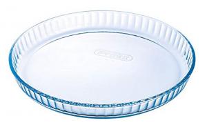 Stampo rotondo per crostata in vetro borosilicato con bordo ondulato cm.3,5h diam.30,5