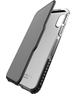 Cellularline Tetra Force Book-Advance - iPhone XS/X Custodia a libro ultra-protettiva Nero.Trasparente