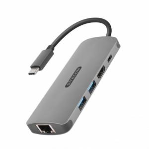 Sitecom CN-379 cavo di interfaccia e adattatore USB-C HDMI, RJ45, USB-C, 2x USB 3.0 Grigio