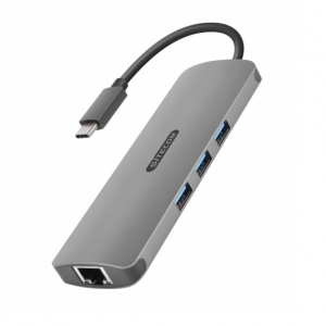Sitecom CN-382 cavo di interfaccia e adattatore USB-C USB-C, RJ45, HDMI, 3.5mm, 3x USB 3.0, SD, microSD Grey