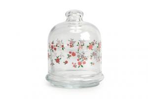 Scatola in vetro e cupola con decoro Rose CL 22 cm.0x0x0h
