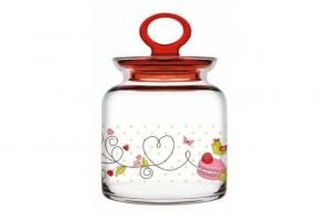 Barattolo in vetro decorato con coperchio cm.0x0x0h