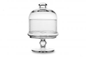 Scatola in vetro per confetti caramelle biscotti con campana in vetro cm.12x12x26h