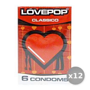 Set 12 LOVEPOP Profilattici Classici 6 Pezzi Preservativi Anticoncezionali Condom