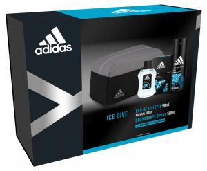 ADIDAS Idea Regalo Eau De Toilette Trousse Deodorante Ice Dive Profumo 150 ml