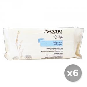 Set 6 AVEENO Salviette Baby Aloe Avena * 72 Pezzi - Linea Bimbo