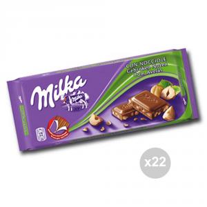 Set 22 MILKA Cioccolata tavoletta nocciole gr. 100 4045897 snack dolce