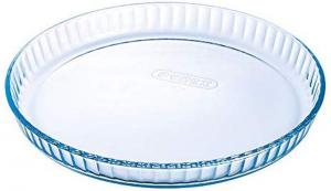 Stampo rotondo per crostata in vetro borosilicato con bordo ondulato