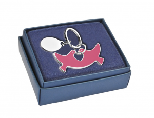 Portachiavi colombe rosa pace in silver plated cm.6x5,5x1h