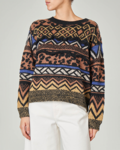 Maglia girocollo in lana e mohair con motivi jacquard multicolor e rouches