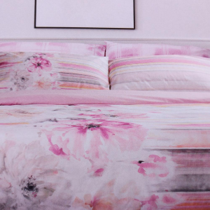 Set lenzuola matrimoniale HAPPIDEA PIVOINE rosa effetto-copriletto