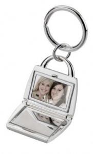 Portachiavi borsa con specchio e foto silver plated cm.7x4x1h