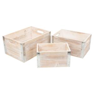 Cassetta in legno Industrial Style set 3 pezzi