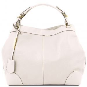 Tuscany Leather TL141516 Ambrosia - Borsa shopping in pelle morbida con tracolla Bianco