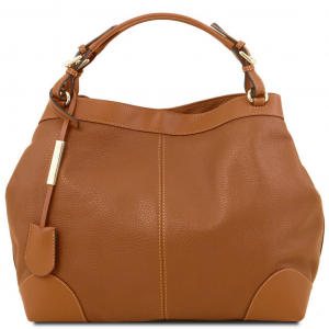 Tuscany Leather TL141516 Ambrosia - Borsa shopping in pelle morbida con tracolla Cognac