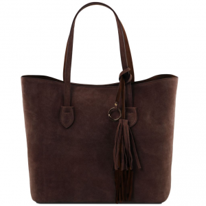 Tuscany Leather TL141639 TL Bag - Borsa shopping in pelle scamosciata Testa di Moro
