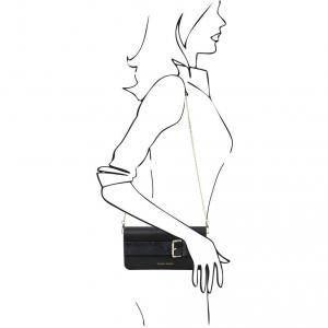 Tuscany Leather TL141814 Demetra - Pochette in pelle con tracolla a catena Blu scuro