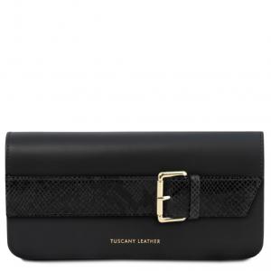 Tuscany Leather TL141814 Demetra - Pochette in pelle con tracolla a catena Nero
