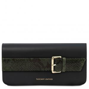 Tuscany Leather TL141814 Demetra - Pochette in pelle con tracolla a catena Verde Foresta
