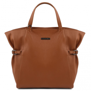 Tuscany Leather TL141883 TL Bag - Borsa shopper in pelle morbida Cognac