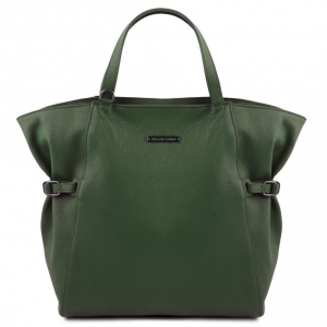 Tuscany Leather TL141883 TL Bag - Borsa shopper in pelle morbida Verde Foresta