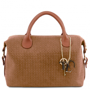Tuscany Leather TL141885 TL KeyLuck - Maxi bauletto in pelle stampa intrecciata Cannella