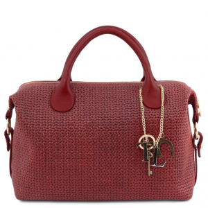 Tuscany Leather TL141885 TL KeyLuck - Maxi bauletto in pelle stampa intrecciata Rosso