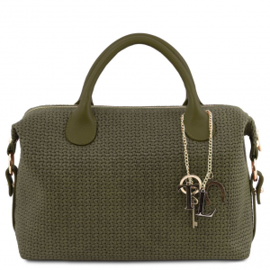 Tuscany Leather TL141885 TL KeyLuck - Maxi bauletto in pelle stampa intrecciata Verde Foresta