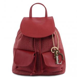 Tuscany Leather TL141886 TL KeyLuck - Zaino in pelle stampa intrecciata Rosso