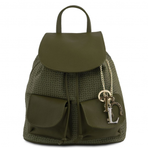 Tuscany Leather TL141886 TL KeyLuck - Zaino in pelle stampa intrecciata Verde Foresta