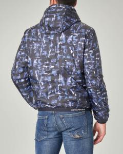 Giacca con stampa grafica all over reversibile in blu tinta unita