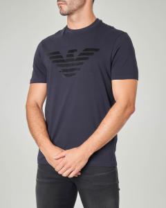 T-shirt blu mezza manica con aquila in velluto