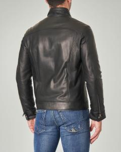 Giacca biker nera in pelle imbottita in Thermore®