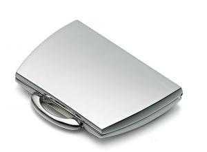 Specchietto borsetta argentato argento cm.5,7x4,7x1h