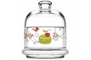 Scatola in vetro con coperchio Macarons CL 22 cm.diam.9
