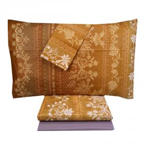 FERMO brown Granfoulard Bassetti complete double bed sheet