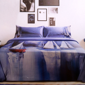 Copripiumino e federe matrimoniali HAPPIDEA WILFRED bluette in cotone