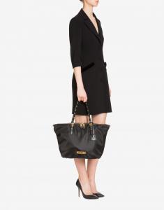 Shopper in nylon con logo in oro spazzolato